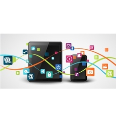 tablet computer and mobile phones vector image vector image