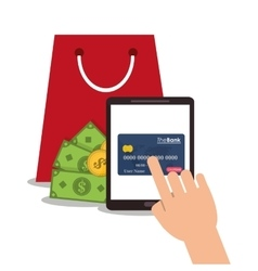 Tablet payment and shopping design vector