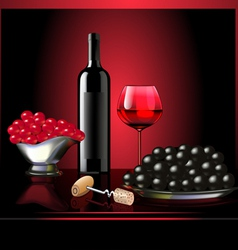 wine goblet grape on dark background vector image vector image