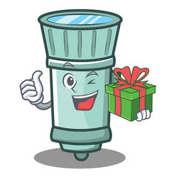 With gift flashlight cartoon character style vector