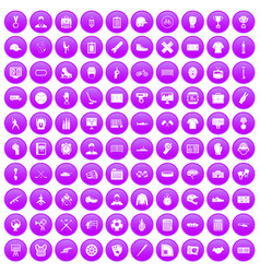 100 mens team icons set purple vector