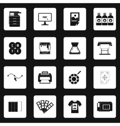 Printing icons set in simple style vector