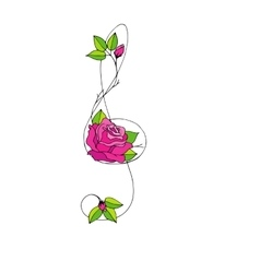 Hand drawn beautiful treble clef with rose vector