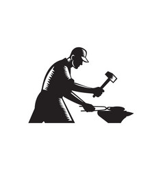 Blacksmith worker forging iron black and white vector