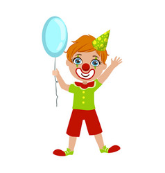 boy in clown costume part of kids at the birthday vector image