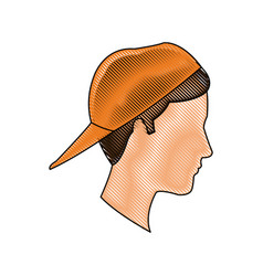 Drawing profile head young boy orange cap vector