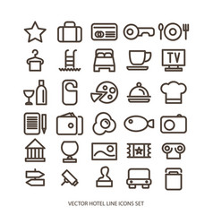 Outline web icon set - hotel services vector
