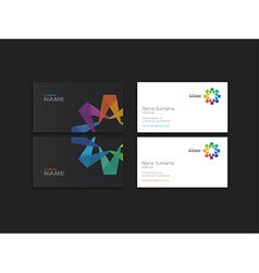 Business card with abstract colorful element vector