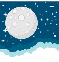 Full moon in the starry cosmic dark blue sky with vector