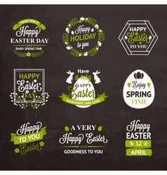 Easter labels and badges on chalkboard background vector