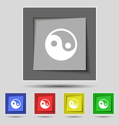 Ying yang icon sign on the original five colored vector