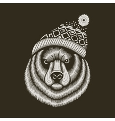 Bear hipster in knitted hat with jacquard pattern vector