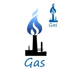 Gas symbol with pipe and blue flame vector image