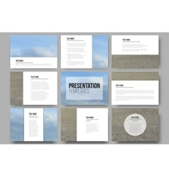 Set of 9 templates for presentation slides dry vector