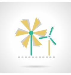 Wind turbine flat color icon vector