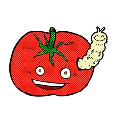 Comic cartoon tomato with bug vector
