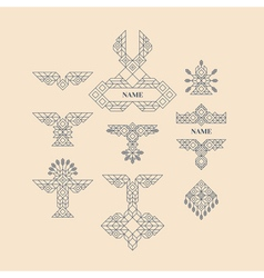 Vintage graphic elements for design line art vector