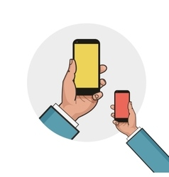 Mobile phone in businessman hand left hand using vector