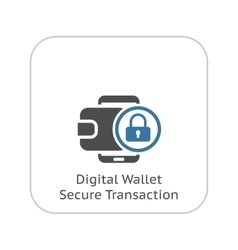 Flat digital wallet secure transaction concept vector