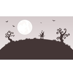 Silhouette of halloween monster and tree vector