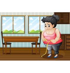 A sad fat woman vector image vector image