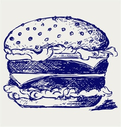 Big and tasty hamburger vector