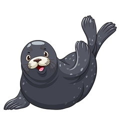 Black seal with happy face vector image vector image