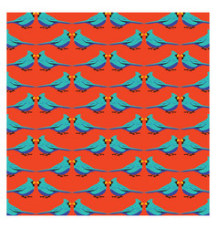 blue bird with orange background pattern vector image vector image
