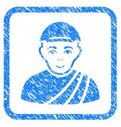 Buddhist monk framed stamp vector