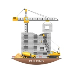 Building construction machinery flat vector