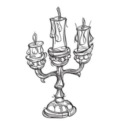 candlestick on three candles vintage household vector image