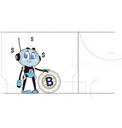 Chatbot hold bitcoin robots and crypto currency vector