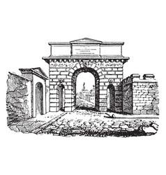 City gate development vintage engraving vector