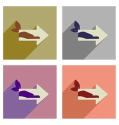 Concept of flat icons with long shadow eco arrow vector