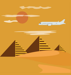 Egypt desert with piramid vector