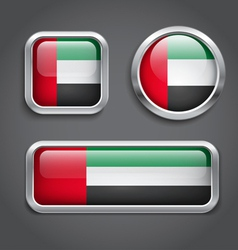 Emirates flag glass buttons vector image