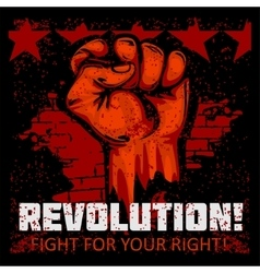 Fist of revolution Human hand up Fight for your vector image