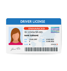Flat woman driver license plastic card template vector