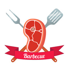 Fresh meat labelpork ham barbecue fork spatula vector