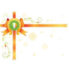 Golden lucky horseshoe corner orange ribbon bow vector
