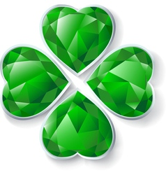 green diamond four leaves clover vector image vector image