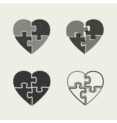 Hearts icons with puzzle vector image