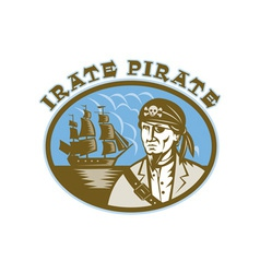 Irate pirate with sailing tall ship vector
