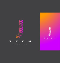 J letter logo technology connected dots letter vector