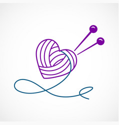 knitting heart vector image