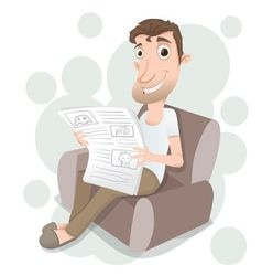 Man reading on sofa vector