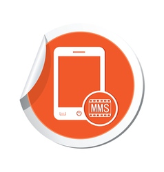 phone mms icon orange sticker vector image vector image