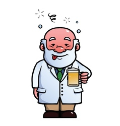 Scientist being drunk vector image vector image