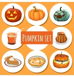 Set of delicious dishes from pumpkins vector image