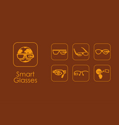 Set of smart glasses simple icons vector